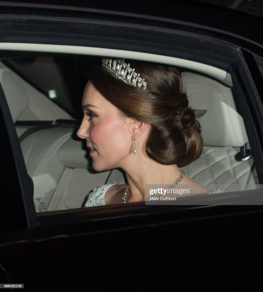 Catherine, Duchess of Cambridge arrives at a Diplomatic Reception at Buckingham Palace on December 5, 2017 in London, England.