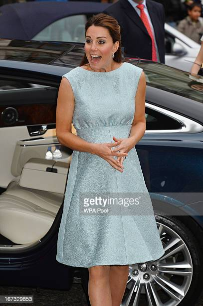 Catherine Duchess of Cambridge arrives at an evening reception to celebrate the work of The Art Room charity at The National Portrait Gallery on...