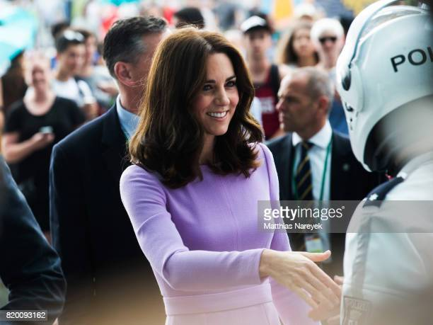 Catherine Duchess of Cambridge arrives at Berlin Hauptbahnhof main railway station on the third day of the royal visit to Germany on July 21 2017 in...