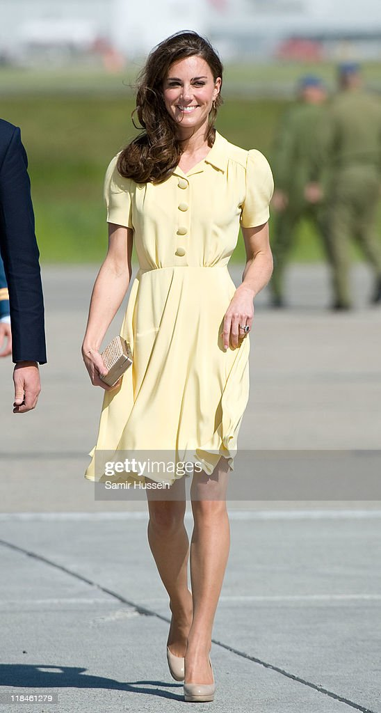 Catherine Duchess of Cambridge arrives at Calgary Airport on day 8 of the Royal couple's tour of North America on July 7 2011 in Calgary Canada