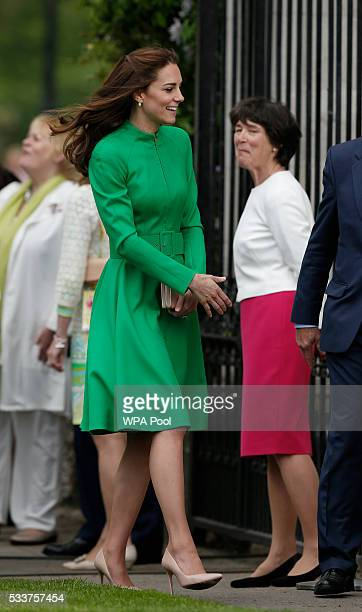 Catherine Duchess of Cambridge arrives at Chelsea Flower Show press day at Royal Hospital Chelsea on May 23 2016 in London England The show which has...
