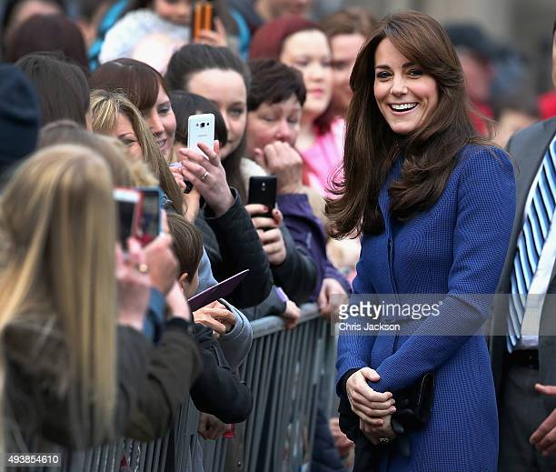 Catherine Duchess of Cambridge arrives at Dundee Rep Theatre as part of an away day to the Scottish City on October 23 2015 in Dundee Scotland