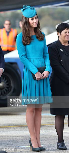 Catherine Duchess of Cambridge arrives at Dunedin Airport on April 13 2014 in Dunedin New Zealand The Duke and Duchess of Cambridge are on a...