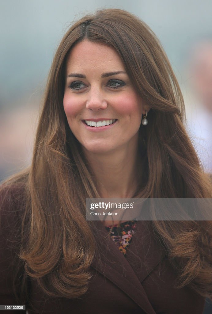 Catherine, Duchess of Cambridge arrives at Havelock Academy on March 5, 2013 in Grimsby, England. The pregnant Duchess of Cambridge is spending the day visiting Grimsby in the North East of England.