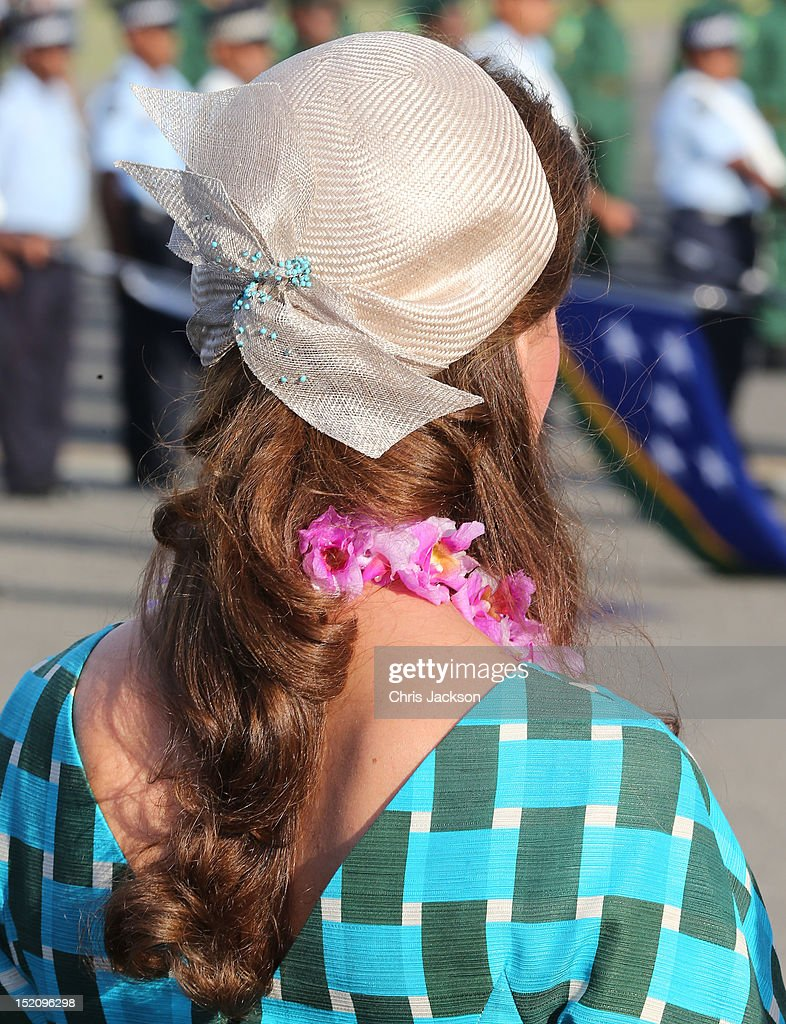 Catherine, Duchess of Cambridge arrives at Honiara International Airport during their Diamond Jubilee tour of the Far East on September 16, 2012 in Honiara, Guadalcanal Island. Prince William, Duke of Cambridge and Catherine, Duchess of Cambridge are on a Diamond Jubilee tour representing the Queen taking in Singapore, Malaysia, the Solomon Islands and Tuvalu.