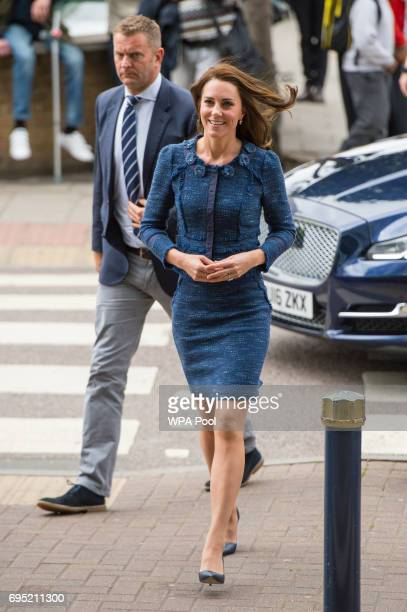 Catherine Duchess of Cambridge arrives at Kings College Hospital to meet staff and patients who were affected by the terrorist attacks in London...