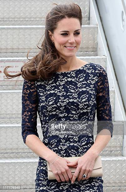 Catherine Duchess of Cambridge arrives at MacdonaldCartier International Airport on June 30 2011 in Ottawa Canada The newly married Royal Couple have...