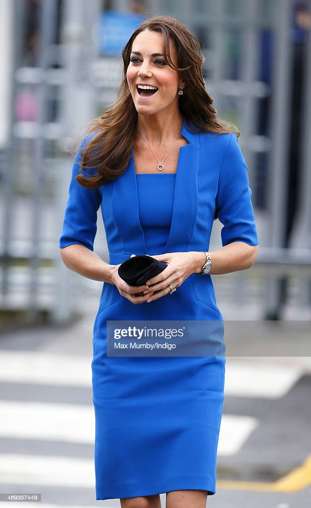 Catherine, Duchess of Cambridge arrives at Northolt High School to officially open The ICAP Art Room on February 14, 2014 in Ealing, England.