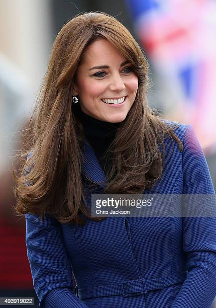Catherine Duchess of Cambridge arrives at RSS Discovery as part of an away day to the Scottish City on October 23 2015 in Dundee Scotland
