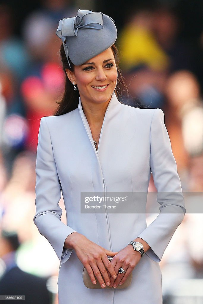 <a gi-track='captionPersonalityLinkClicked' href=/galleries/search?phrase=Catherine+-+Duchesse+de+Cambridge&family=editorial&specificpeople=542588 ng-click='$event.stopPropagation()'>Catherine</a>, Duchess of Cambridge arrives at St Andrew's Cathedral for Easter Sunday Service on April 20, 2014 in Sydney, Australia. The Duke and Duchess of Cambridge are on a three-week tour of Australia and New Zealand, the first official trip overseas with their son, Prince George of Cambridge.
