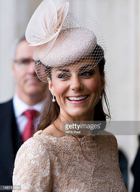 Catherine Duchess of Cambridge arrives at St Paul's Cathedral for a service of thanksgiving on June 5 2012 in London England For only the second time...