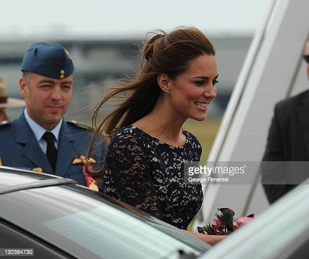Catherine Duchess of Cambridge arrives at the Canada Reception Centre Ottawa MacdonaldCartier International Airport for their 2011 Royal Tour of the...