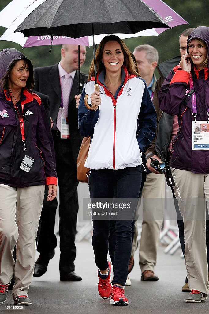 <a gi-track='captionPersonalityLinkClicked' href=/galleries/search?phrase=Catherine+-+Duchess+of+Cambridge&family=editorial&specificpeople=542588 ng-click='$event.stopPropagation()'>Catherine</a>, Duchess of Cambridge arrives at the Eton Dorney venue to watch the days rowing competitions on day 4 of the London 2012 Paralympic Games at Eton Dorney on September 2, 2012 in Windsor, England.
