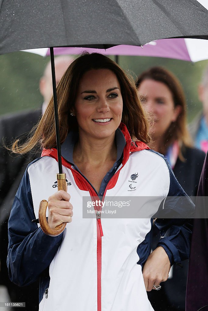 Catherine, Duchess of Cambridge arrives at the Eton Dorney venue to watch the days rowing competitions on day 4 of the London 2012 Paralympic Games at Eton Dorney on September 2, 2012 in Windsor, England.