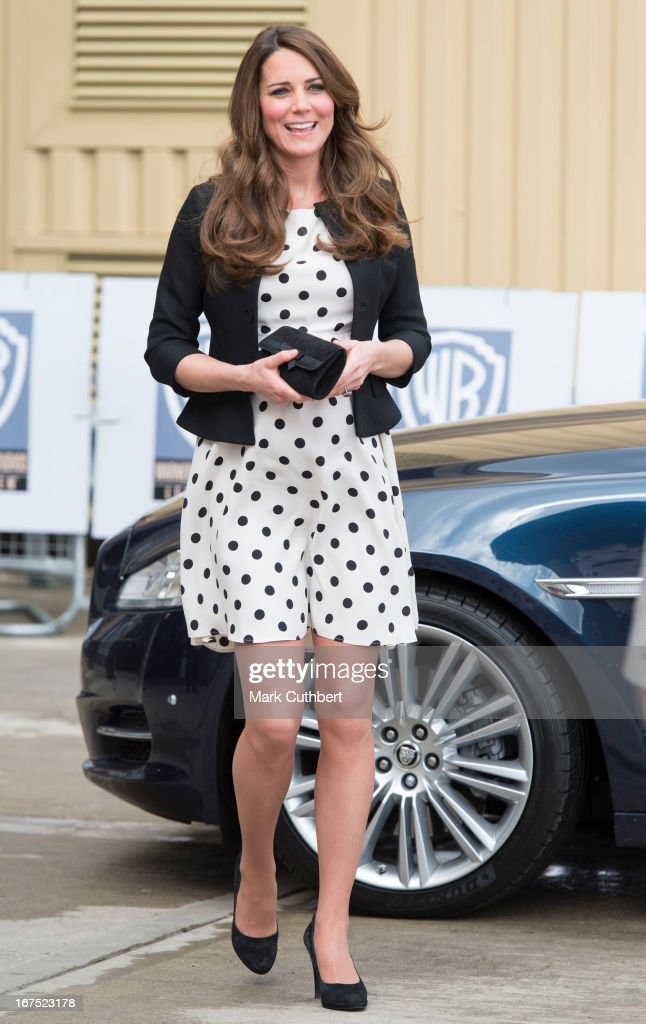 Catherine, Duchess of Cambridge arrives at the Inauguration Of Warner Bros. Studios Leavesden on April 26, 2013 in Watford, England.