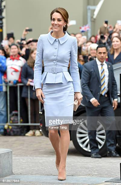 Catherine Duchess of Cambridge arrives at the Mauritshuis to view the exhibition 'At Home in Holland Vermeer and his Contemporaries from the British...