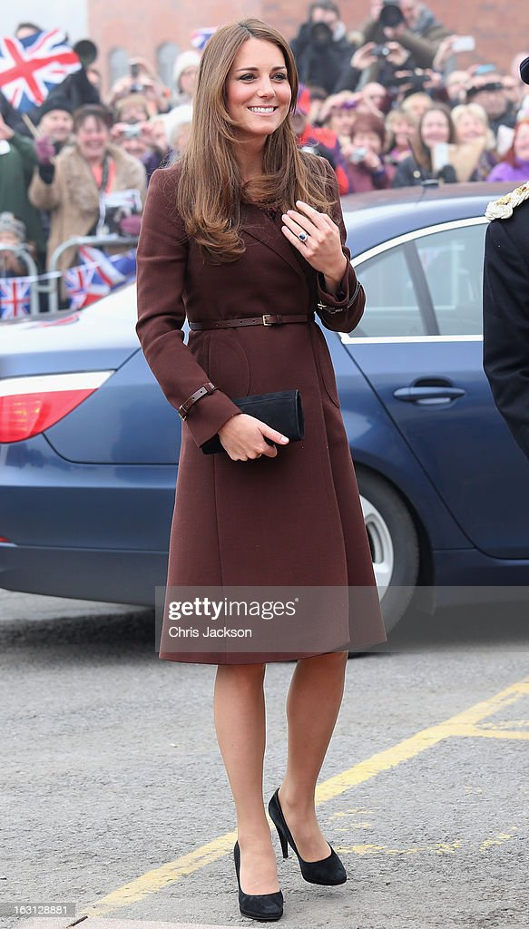 Catherine, Duchess of Cambridge arrives at the National Fishing Heritage Centre on March 5, 2013 in Grimsby, England. The pregnant Duchess of Cambridge is spending the day visiting Grimsby in the North East of England.