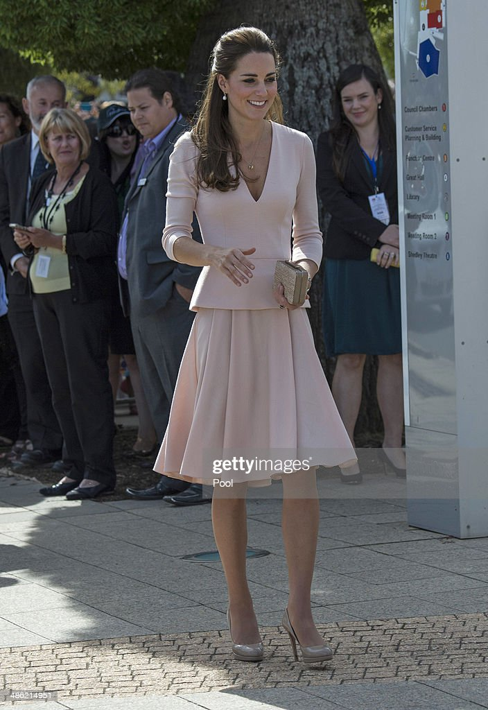 Catherine Duchess of Cambridge arrives at the Playford Civic Centre in the Adelaide suburb of Elizabeth on April 23 2014 in Adelaide Australia The...