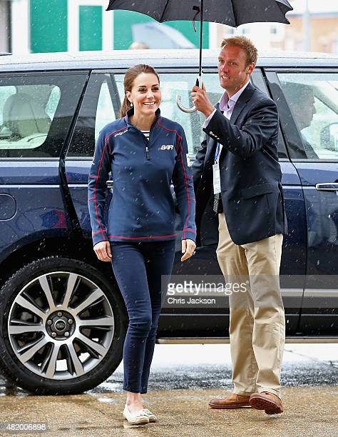 Catherine Duchess of Cambridge arrives at the Portsmouth Historical Dockyard as she attends the America's Cup World Series event on July 26 2015 in...