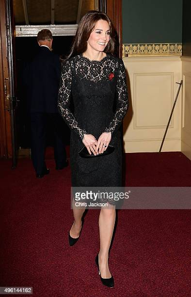 Catherine Duchess of Cambridge arrives at the Royal Albert Hall for the Annual Festival of Remembrance on November 7 2015 in London England