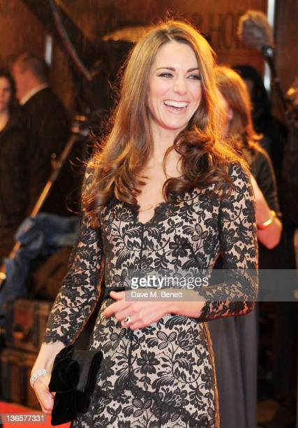 Catherine Duchess of Cambridge arrives at the UK Premiere of 'War Horse' at Odeon Leicester Square on January 8 2012 in London England