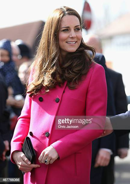 Catherine Duchess of Cambridge arrives at the XLP Mobile recording Studio on March 27 2015 in London England