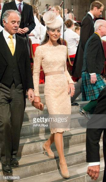 Catherine Duchess of Cambridge arrives at Westminster Hall at the Palace of Westminster for the Diamond Jubilee Lunch on June 5 2012 in London...