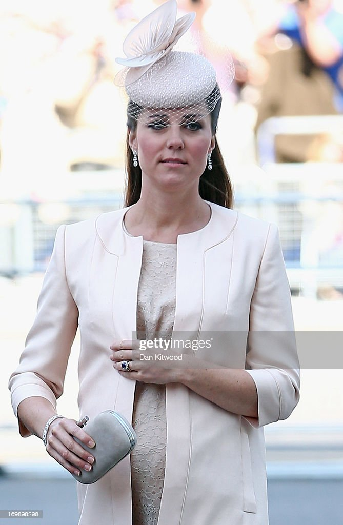 Catherine, Duchess of Cambridge arrives for a service of celebration to mark the 60th anniversary of the Coronation Queen Elizabeth II at Westminster Abbey on June 4, 2013 in London, England. The Queen's Coronation took place on June 2, 1953 after a period of mourning for her father King George VI, following her ascension to the throne on February 6, 1952. The event 60 years ago was the first time a coronation was televised for the public.