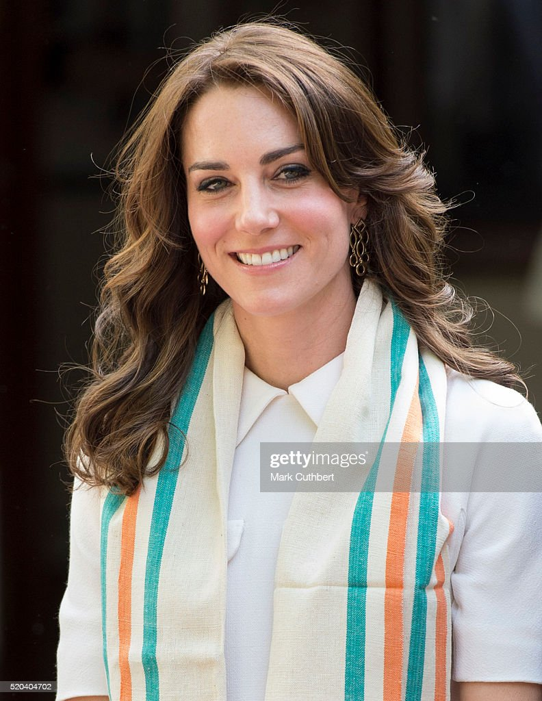 Catherine Duchess of Cambridge arrives for a Tour of the Gandhi Smriti museum at Old Birla House on April 11 2016 in New Delhi India