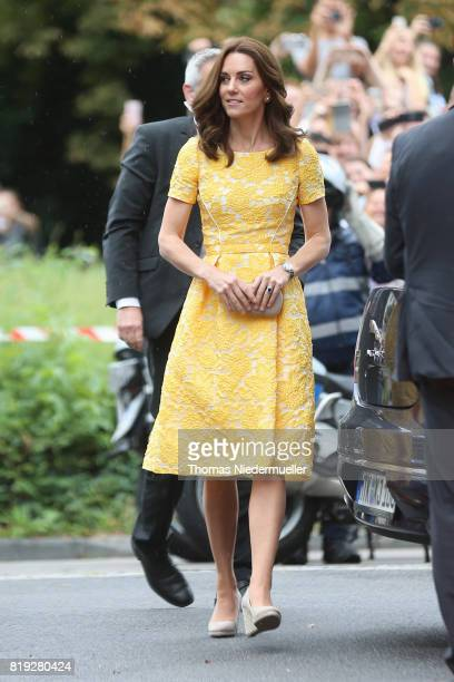 Catherine Duchess of Cambridge arrives for a visit of the German Cancer Research Center on the second day of their visit to Germany on July 20 2017...