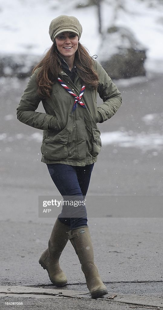 Catherine, Duchess of Cambridge arrives for a visit to the Great Tower Scout camp at Newby Bridge in Cumbria on March 22, 2013. The Duchess braved snowy conditions to pay a visit to the scout camp.