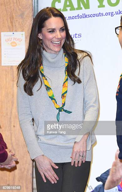 Catherine Duchess of Cambridge arrives for an official visit of a Cub Scout Pack Meeting to celebrate 100 years of Cubs at the Scout and Guide Hut on...