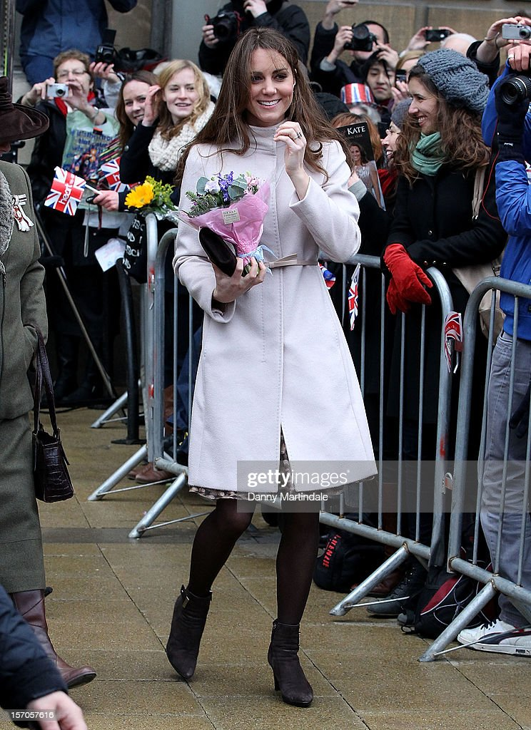 Catherine, Duchess of Cambridge arrives for an official visit to Cambridge on November 28, 2012 in Cambridge, England.