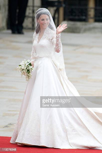 Catherine Duchess of Cambridge arrives for the marriage of Their Royal Highnesses Prince William Duke of Cambridge and Catherine Duchess of Cambridge...