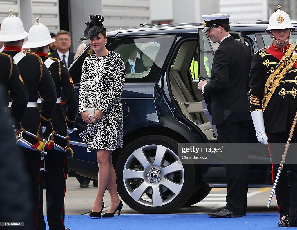 Catherine, Duchess of Cambridge arrives for the Princess Cruises ship naming ceremony at Ocean Terminal on June 13, 2013 in Southampton, England.