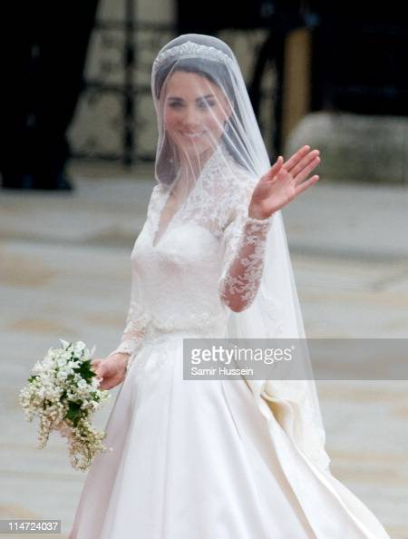 Catherine Duchess of Cambridge arrives for the Wedding of Prince William and Catherine Middleton at Westminster Abbey on April 29 2011 in London...