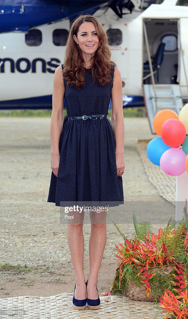 Catherine, Duchess of Cambridge arrives in Marau on their way to Tivanipupu on day 7 of their Diamond Jubilee Tour, on September 17, 2012 in Marau, Guadacanal Province, Solomon Islands. Prince William, Duke of Cambridge and Catherine, Duchess of Cambridge arrived in the Solomon Islands as the first stop of the Pacific leg of their nine day Diamond Jubilee Tour of the Far East and South Pacific.