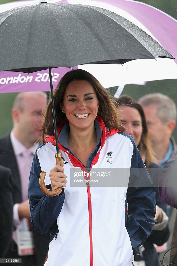 <a gi-track='captionPersonalityLinkClicked' href=/galleries/search?phrase=Catherine+-+Duchess+of+Cambridge&family=editorial&specificpeople=542588 ng-click='$event.stopPropagation()'>Catherine</a>, Duchess of Cambridge arrives in the rain at Eton Dorney for the rowing on day 4 of the London 2012 Paralympic Games at Eton Dorney on September 2, 2012 in Windsor, England.