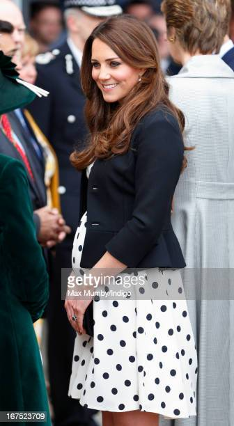 Catherine Duchess of Cambridge arrives to attend the Inauguration of Warner Bros Studios Leavesden on April 26 2013 in London England