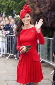Catherine Duchess of Cambridge arrives to board the royal barge 'Spirit of Chartwell' for the Thames Diamond Jubilee Pageant on the River Thames in...