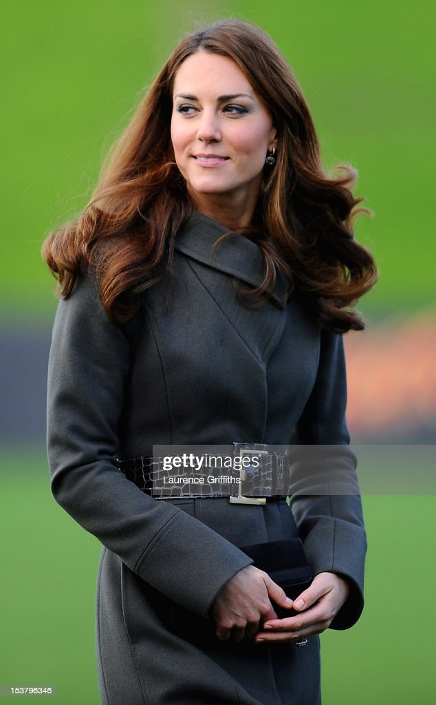 Catherine, Duchess of Cambridge arrives to meet the England team as they visit a training session at St Georges Park on October 9, 2012 in Burton-upon-Trent, England.