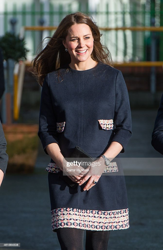 Catherine, Duchess of Cambridge arrives to officially open The Clore Art Room at Barlby Primary School on January 15, 2015 in London, England.