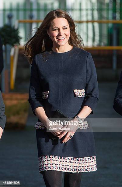 Catherine Duchess of Cambridge arrives to officially open The Clore Art Room at Barlby Primary School on January 15 2015 in London England