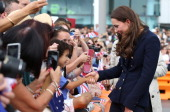 Catherine Duchess of Cambridge arrives to the Viaduct Basin to sail with Team New Zealand on April 11 2014 in Auckland New Zealand The Duke and...