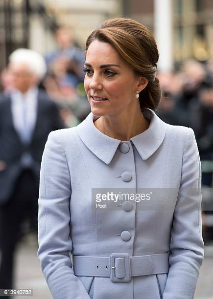 Catherine Duchess of Cambridge arrives to visit the Mauritshuis Gallery during a solo visit to the Hague on October 11 2016 in the Hague Netherlands