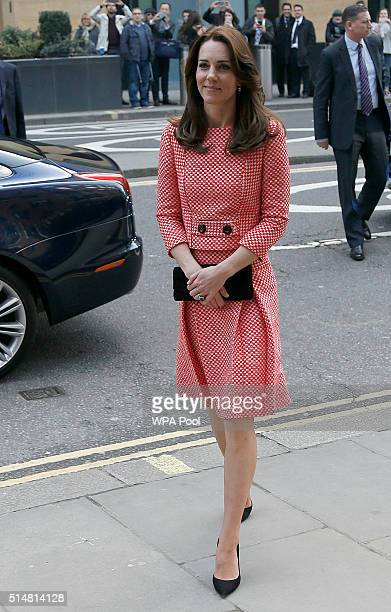 Catherine Duchess of Cambridge arrives to visit the mentoring programme of the XLP project at London Wall on March 11 2016 in London England XLP...