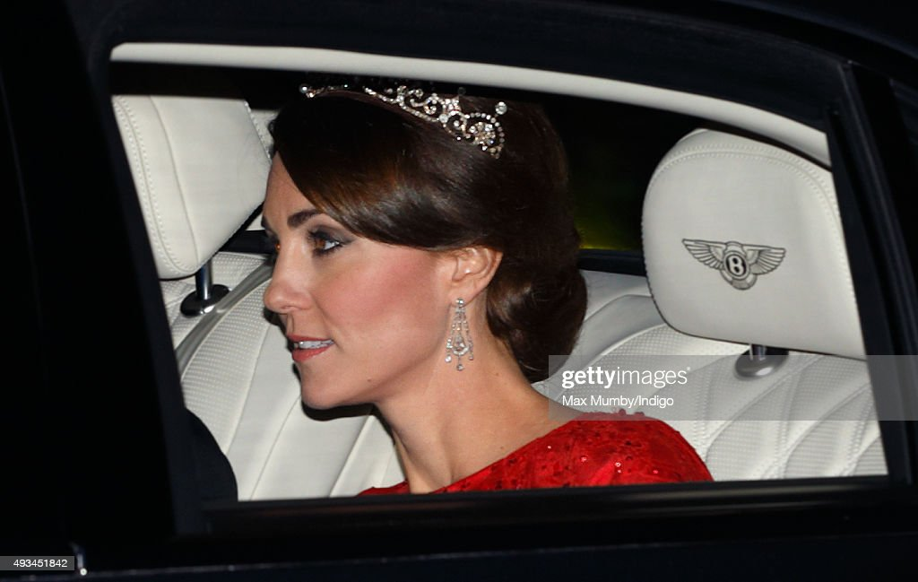 Catherine, Duchess of Cambridge arrives wearing a tiara made by Garrard London at Buckingham Palace to attend a State Banquet to honour the State Visit by China's President Xi Jinping on October 20, 2015 in London, England. The President of the Peoples Republic of China, Mr Xi Jinping and his wife, Madame Peng Liyuan, are paying a State Visit to the United Kingdom as guests of The Queen. They will stay at Buckingham Palace and undertake engagements in London and Manchester. The last state visit paid by a Chinese President to the UK was Hu Jintao in 2005.