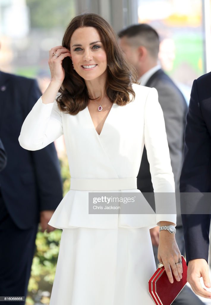 Catherine, Duchess of Cambridge arrives with Prince William, Duke of Cambridge to meet young entrepreneurs during a reception at the Heart, Spire Building on day 1 of their official visit to Poland on July 17, 2017 in Warsaw, Poland.