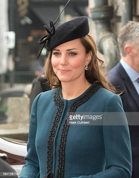 Catherine Duchess of Cambridge arriving for an official visit to Baker Street Underground Station on March 20 2013 in London England