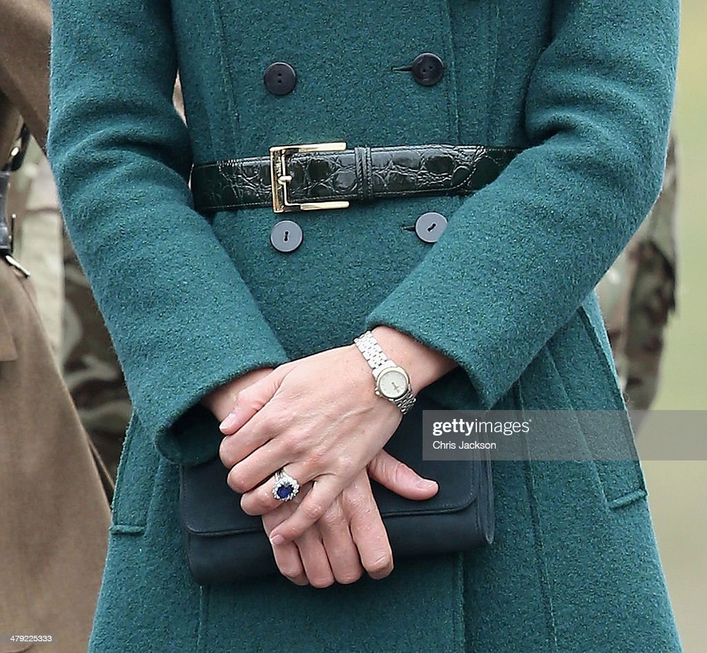 Catherine, Duchess of Cambridge (detail) as she attends the St Patrick's Day parade at Mons Barracks on March 17, 2014 in Aldershot, England. Catherine, Duchess of Cambridge and Prince William, Duke of Cambridge visited the 1st Battalion Irish Guards to present the traditional sprigs of Shamrocks to the Officers and Guardsmen of the Regiment.